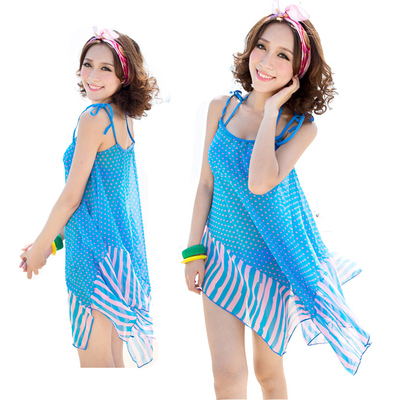 Ms. three-piece bikini swimsuit steel prop gather small chest was thin cover belly swim spa chiffon dress