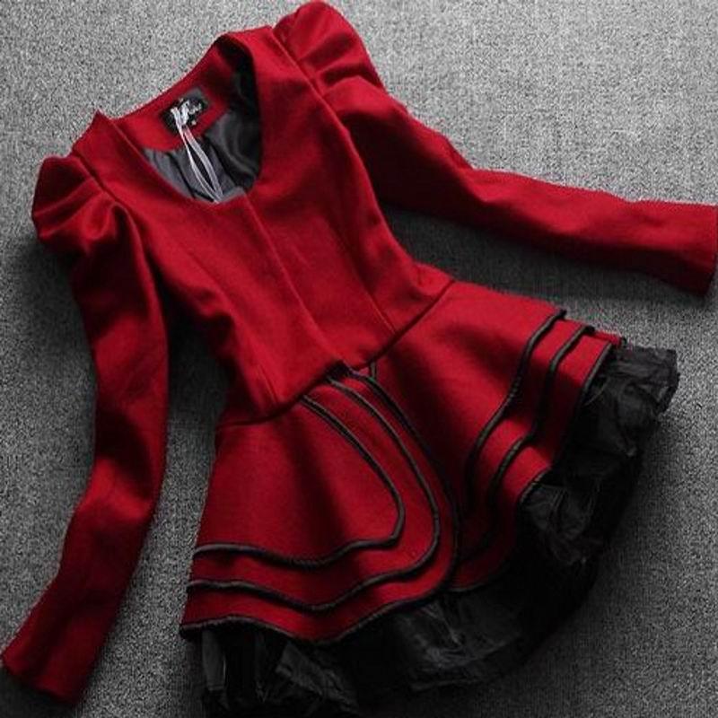 Короткая куртка Biemei Гламурный стиль Облегающий покрой Обычная Длинный рукав Закругленный вырез Объемный рукав Супат Овчина Осень 2012 Однотонный цвет Оборка, Волны, Сетка Средней длины, около 65 см