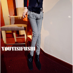Fashionable fur belt pants, pencil pants feet