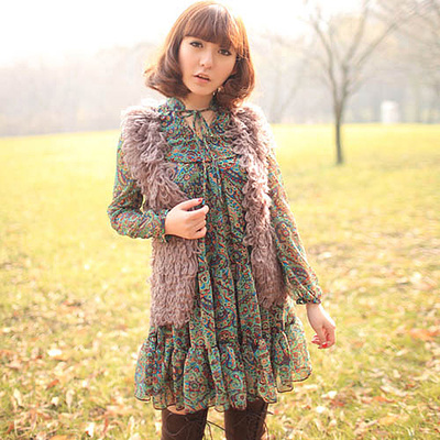 In the spring and autumn outfit new new women's Bohemian collar lace printed chiffon long-sleeved dress