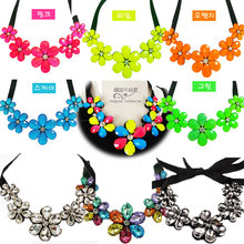 Flower necklace candy color fluorescent acrylic sweater chain short fake collar crystal glass clavicle chain accessories