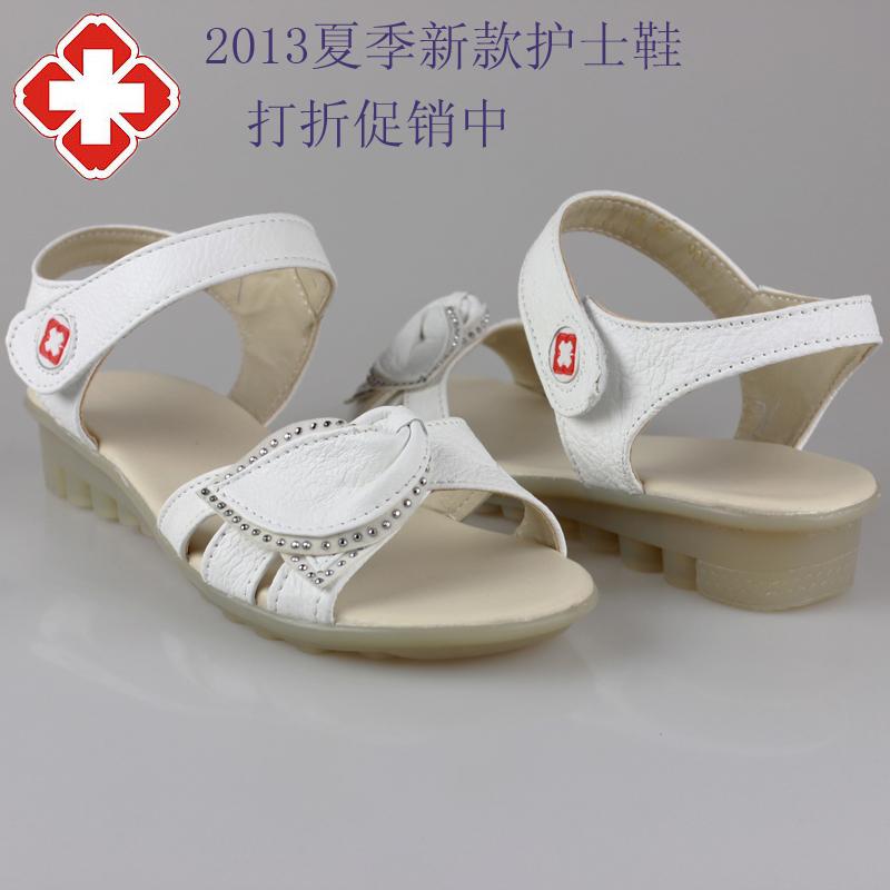 13夏季白色平跟护士鞋凉鞋平底真皮女凉鞋牛筋底工作