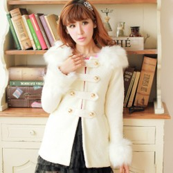 Sweet fashion fur collar double-breasted hooded slim woolen coat