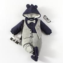 婴儿连体衣服0岁3个月新生儿衣服冬季秋冬季冬装棉衣4满月外出服