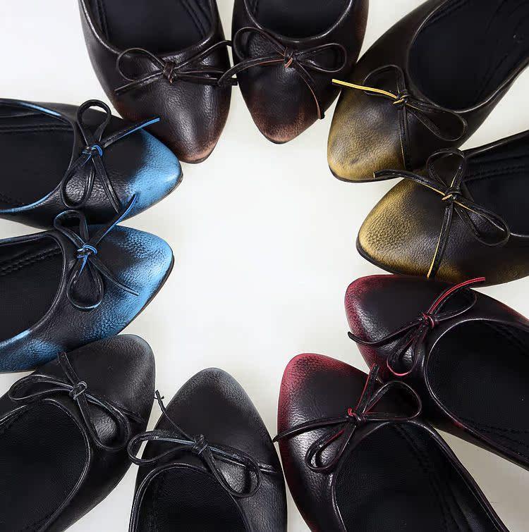 туфли 新款复古做旧 出口单 小众蝴蝶结搽色平底尖头浅口单鞋