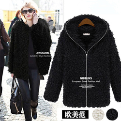 European style catwalk temperament plush fur coat coat big size