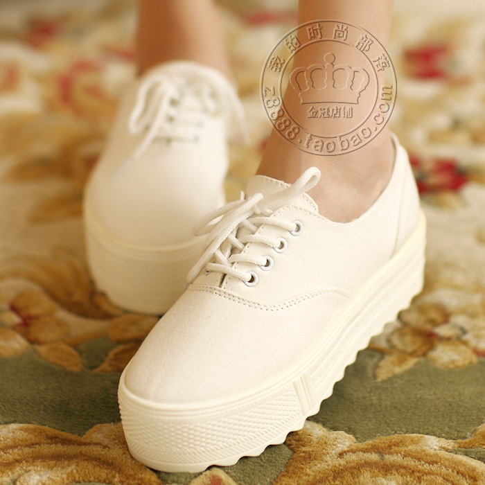 2014 Summer new Korean version of the fluorescent color soled shoes muffin with lace casual shoes to help low canvas shoes