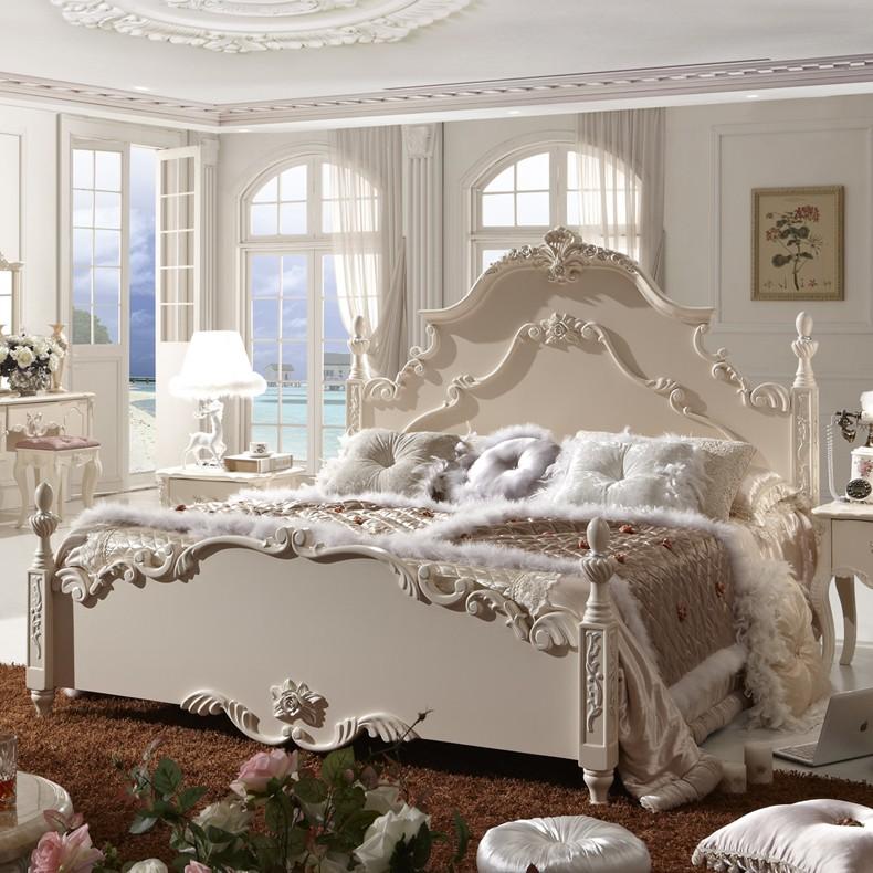 欧式床 新古典家具 欧式家具 实木床 简欧田园大床 法式床 特价床图片