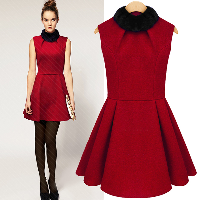 Red sexy Barret  vest dress