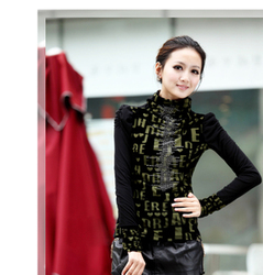 Lace high-necked long sleeve big size thick gold velvet coat Korean style
