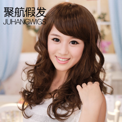 Girls Poly Air wig scroll oblique fringe fluffy small volume pear head the entire top fashion wig wig