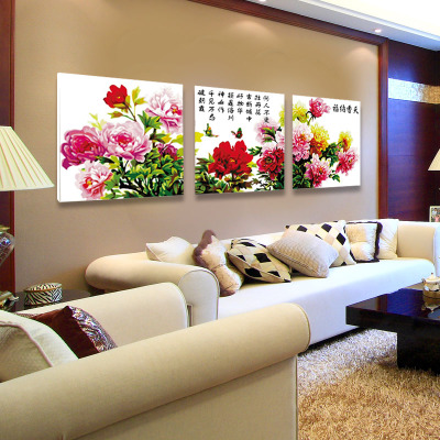 The new living room dining diy digital painting decorative painting triptych 50x150CM three-mile Fantasy Hannaford