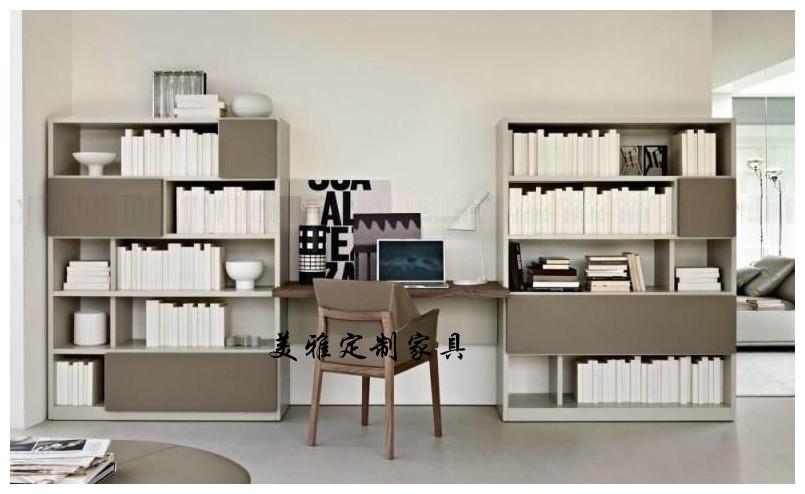 书柜 书桌 烤漆书桌 开放式书柜 简约书柜 定制书柜 住宅家具图片