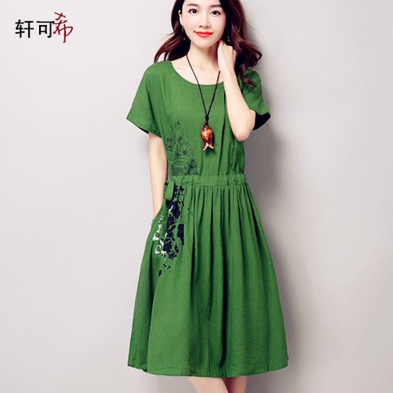 2016夏装大码女装印花棉麻连衣裙短袖韩版修身中长款文艺亚麻裙子