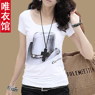  Couture 2013 summer dress new style female Korean wave trendy slim short sleeve t shirt plus size cotton base shirt