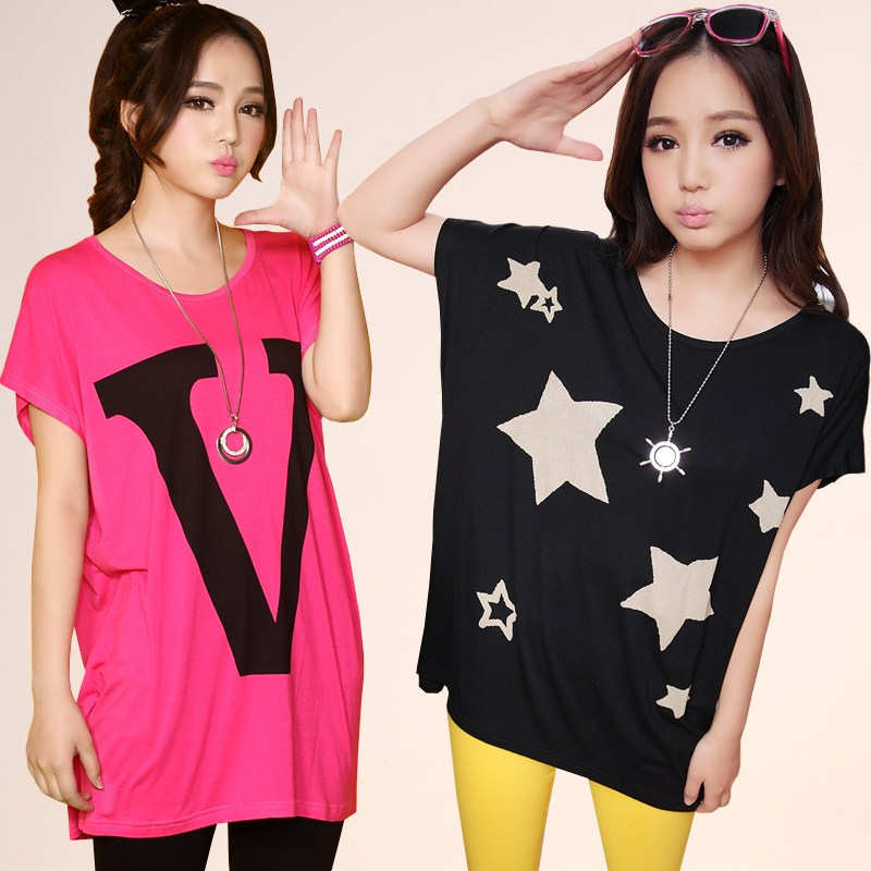 Summer dress new 2013 Korean women's shirts round neck bat sleeve loose yards in the long short sleeve t shirts women