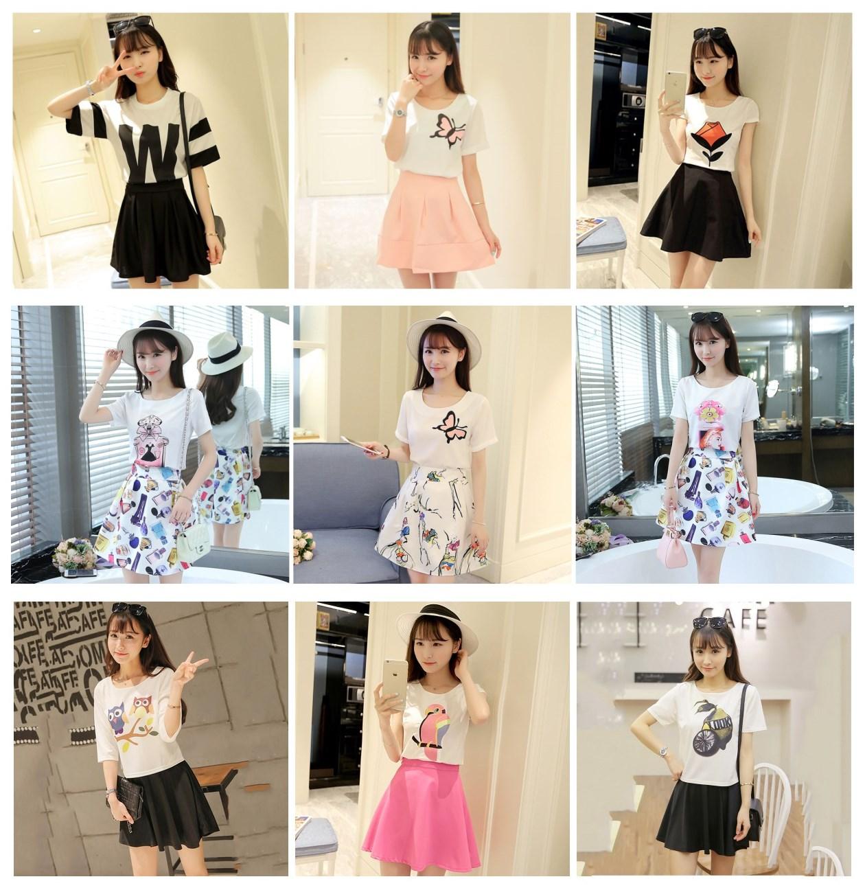夏季新款韩版女装小清新甜美两件套连衣裙短裙学生修身显瘦套装裙