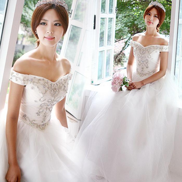 韩版甜美公主新娘一字肩婚纱礼服有大码孕妇2013新款 12335