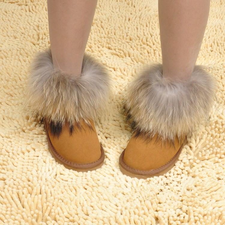 Женские сапоги Снега сапоги женщин снега сапоги Распродажа Фокс шерсти кистями низкой трубки сапоги 5854 змея кожи кожа воловьей кожи хлопок обувь