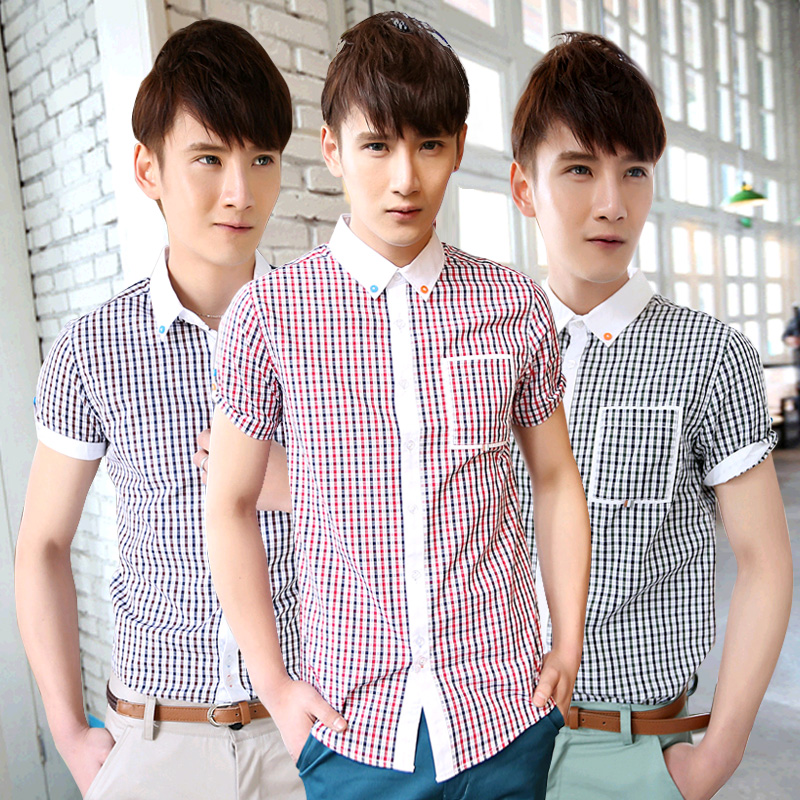JVR Casual Short Sleeve Lapel Plaid Slim Men Shirt