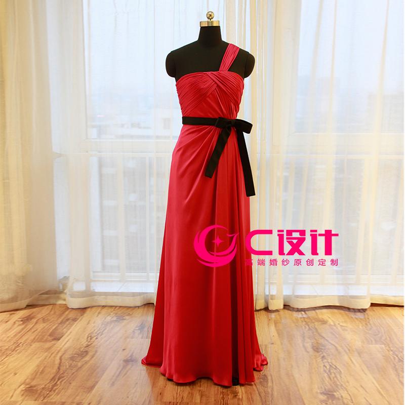 F016玫红色单肩抹胸长款礼服 晚礼服 敬酒服结婚礼服新娘礼服新款