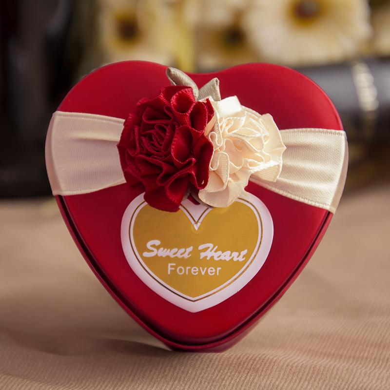 隆享结婚喜糖盒中韩欧式心形马口铁盒糖盒婚庆用品糖果盒创意T45
