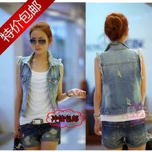 Promotion 2013 spring and summer new women's fashion denim vest women vest waistcoat jacket sleeveless shirt