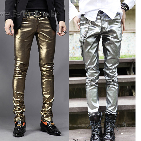 Spring/summer 2013 new Korean wave of gold silver men s slim PU leather pants, performance pants pants men's leather pants