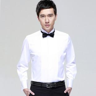 2013新款 春装5折 新郎结婚礼服男士长袖衬衫 燕子领法式修身衬衣