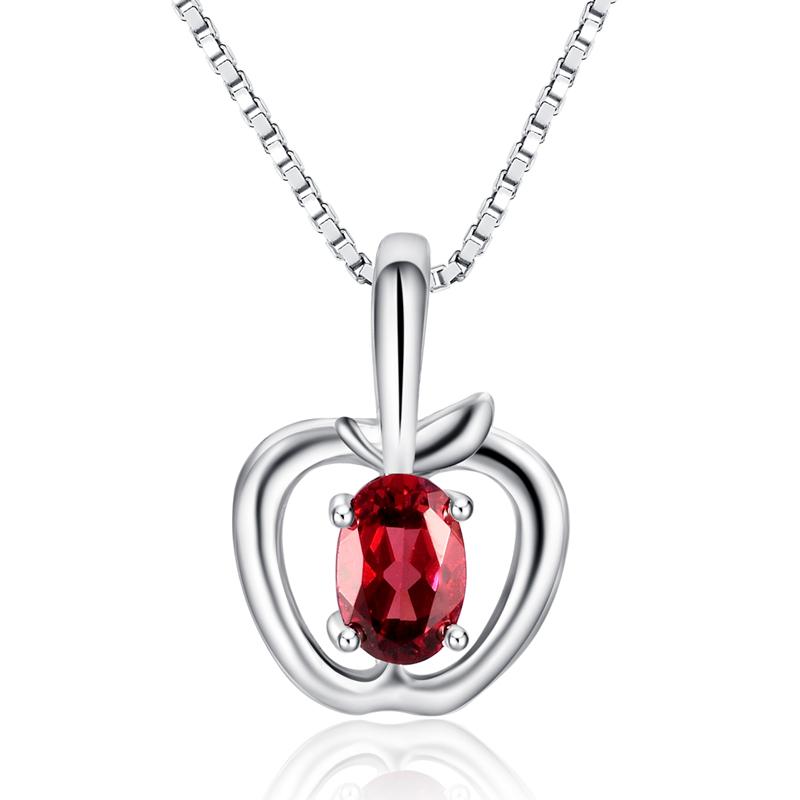 奇葩ZBH 天然石榴石吊坠 纯银项链 女 时尚苹果 送女友 生日礼物