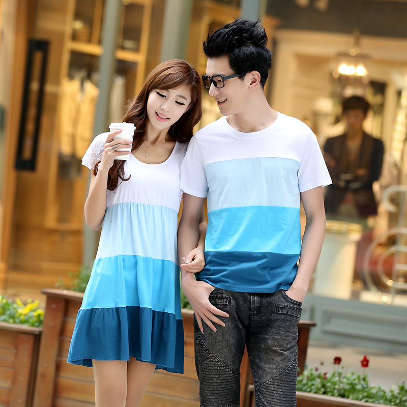  summer 2013 new Korea lovers dresses, summer dress, Korean dress short sleeve loose striped t shirt