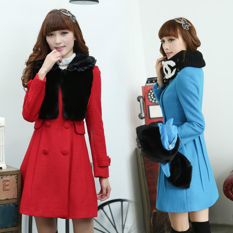 新年秋冬款修身双排扣红色结婚礼服新娘女装毛呢大衣两件套加厚女