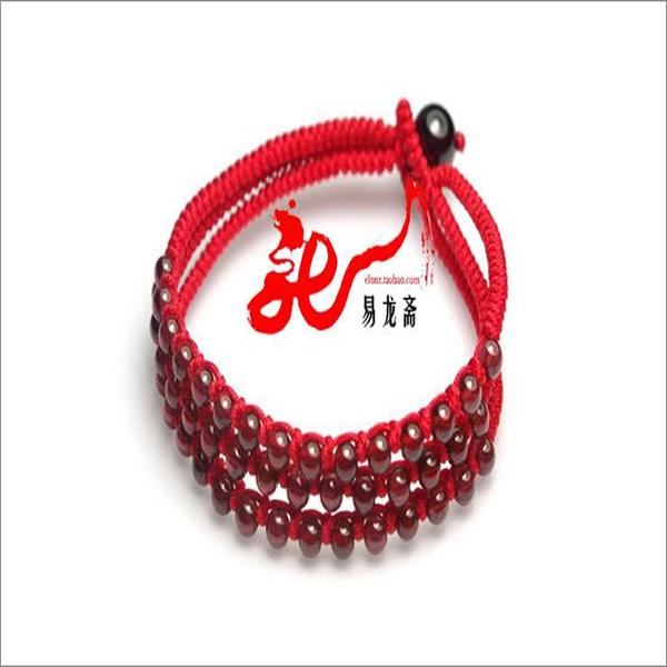 【易龙斋】本命红绳 三生红绳 石榴石红绳手链台湾玉线编织