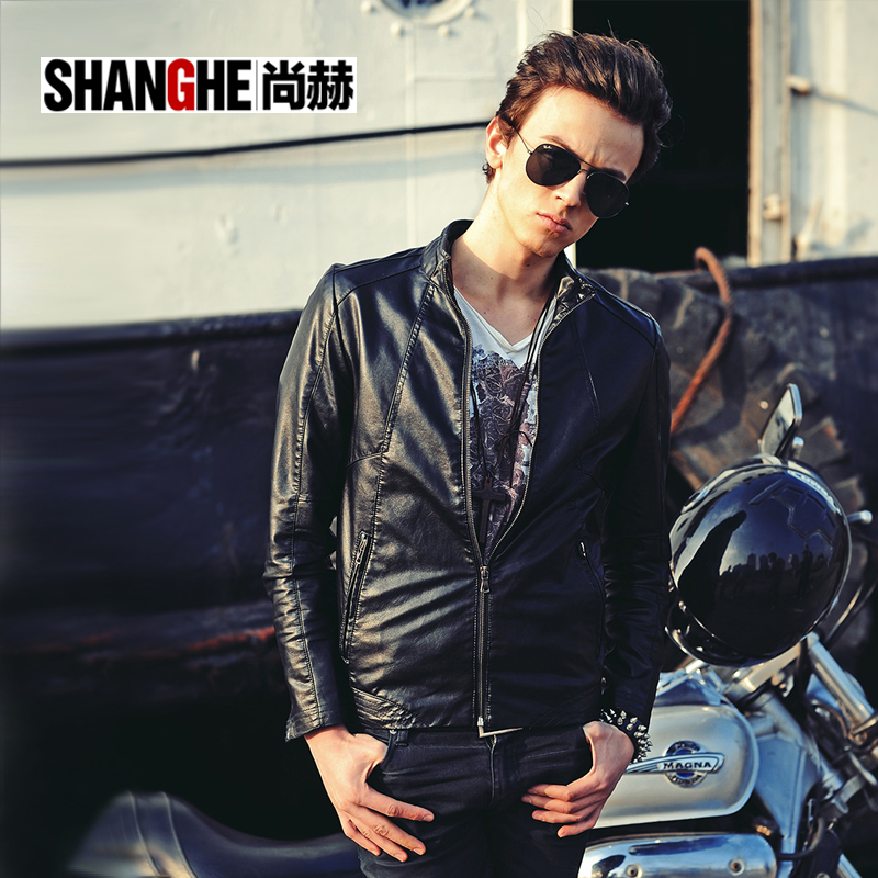 Shang Heshun  2013 spring/summer decoration thin leather jacket coat men's short jacket