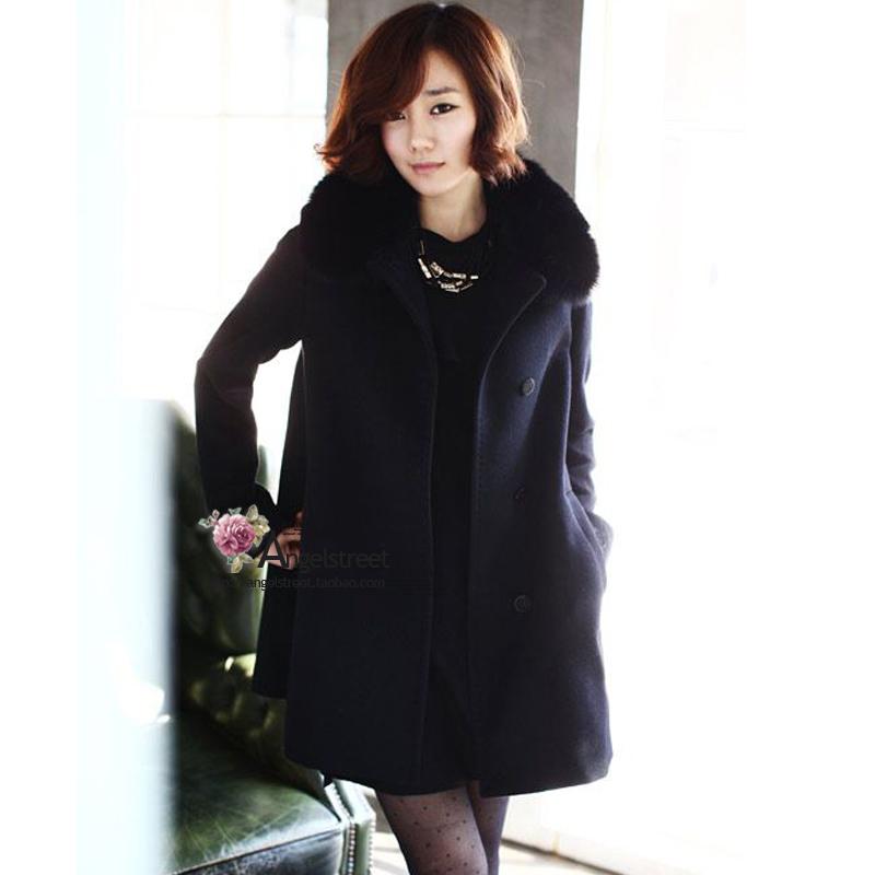 Loss 2014 Korean classic 100% high quality real fox fur blue fox fur really high-end cashmere coat