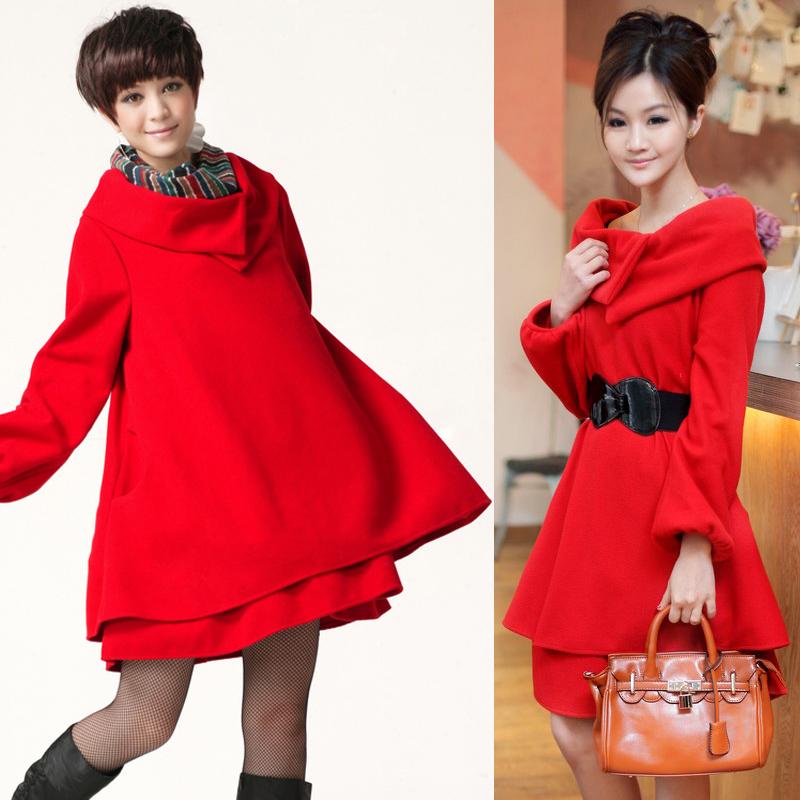 秋冬女装新款回门装大码新娘结婚衣服礼服红色毛呢料孕妇装连衣裙