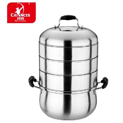 Create one steamer stainless steel double bottom four 24-28cm Universal cooker cooking pot cookware energy efficient