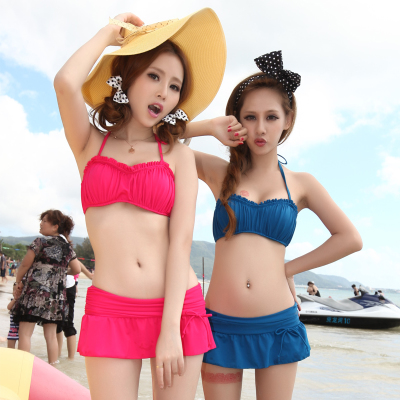 Authentic Korean spa bikini swimwear female small chest gather Bra skirt split steel prop swimsuit