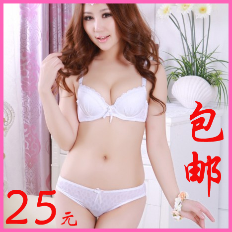 Post 2013 summer new style sexy gather soft Japanese white girls bra set support underwear set
