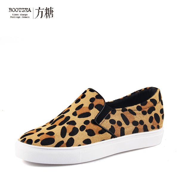 With the Korean version of the star really Pima hair leopard loafers autumn comfortable elastic casual shoes flat women's singles shoes tide