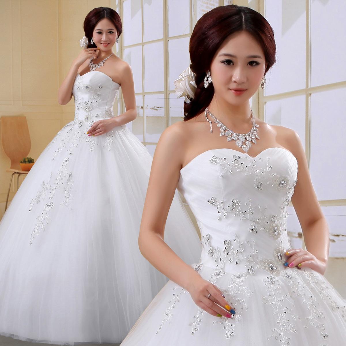 新娘婚纱2013最新款韩版韩式结婚纱礼服甜美公主抹胸大码婚纱绑带