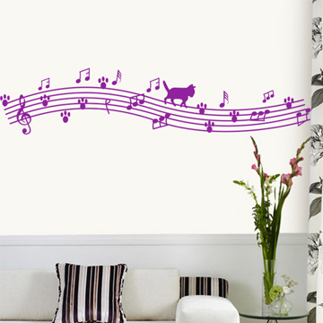 伊娃墙贴纸 音符音乐教室布置书房儿童房卧室背景墙画 快乐猫猫图片