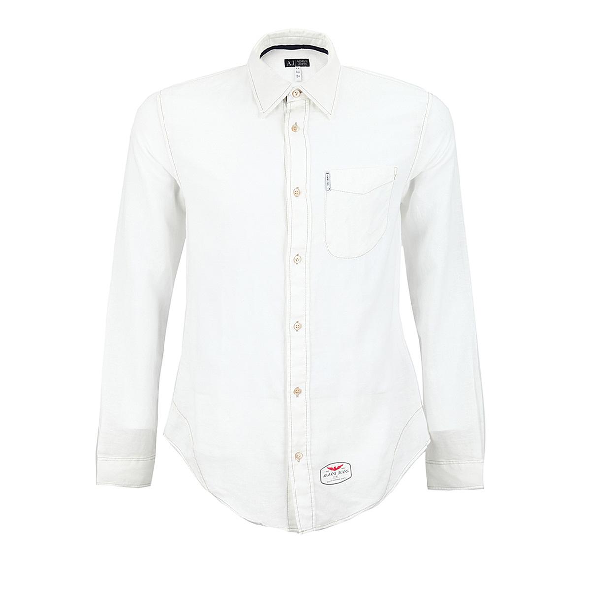 【断码xxl】aj阿玛尼armani jeans白色混合材质纯色男士长袖衬衫