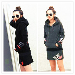 Fat thick hoodie skirt suit fashion printing slim warm jacket