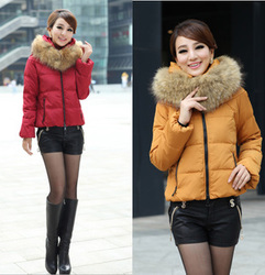 Luxury oversized fur collar thickening women slim Down a short jacket style
