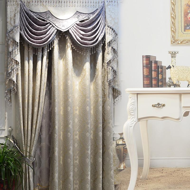 欧式窗帘客厅成品_特价欧式窗帘豪华客厅高档大气提花婚房卧室成品现代窗帘布料定制
