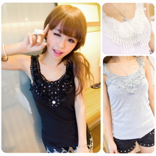 2013 lace camisole female backing shirt Rib practical joker summer halter top female models