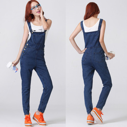 Korean style cute retro size loose jeans denim overalls strap