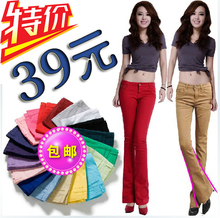Spring 2014 new female jeans trousers elastic color bootleg height pants show thin flares female han edition tide