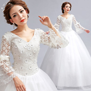 Korean version of the shoulder long sleeve lace deep v package latest 2013 Princess Bride, winter wedding dresses plus size 3,609